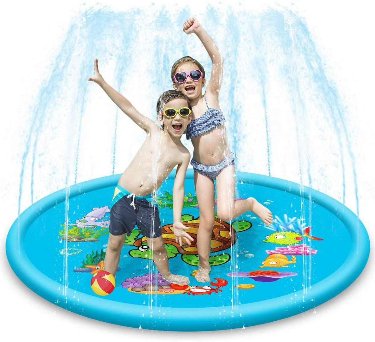 DaMohony Kid Sprinkler Pad Splash Water Play Mat Outdoor Inflatable Toddler Fountain