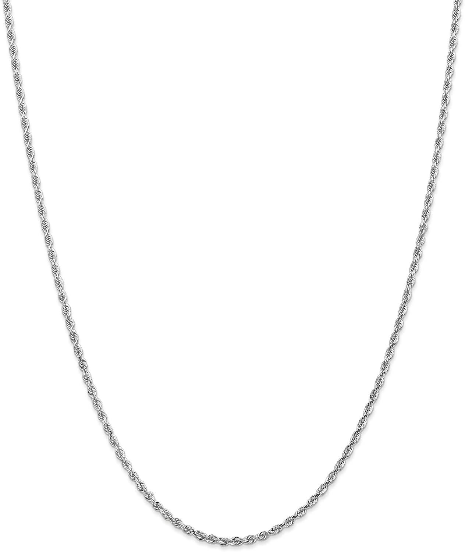 10k White Gold 2.25mm Diamond Cut Quadruple Rope Chain 7 inch - 30 inch for Men Women