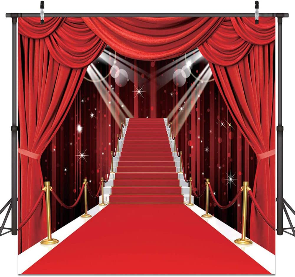 Fashion Show Backdrop Red Carpet Backgrounds Bridal Shower Photo Backdrops for Wedding Prom Talent Show Decoration 10x10ft 053