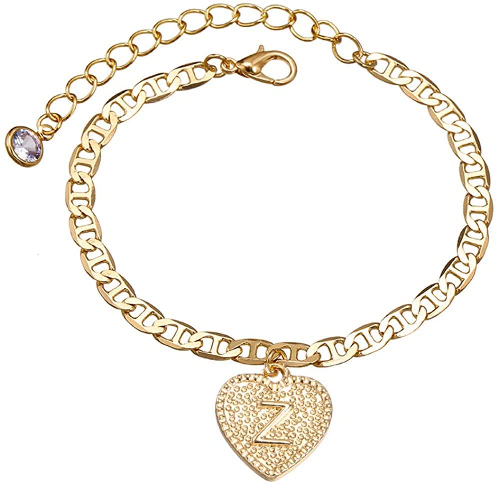 Heart Initial Bracelets Mariner Chain Letter 14K Gold Plated Alphabet Link Bracelet Gift for Women Girls