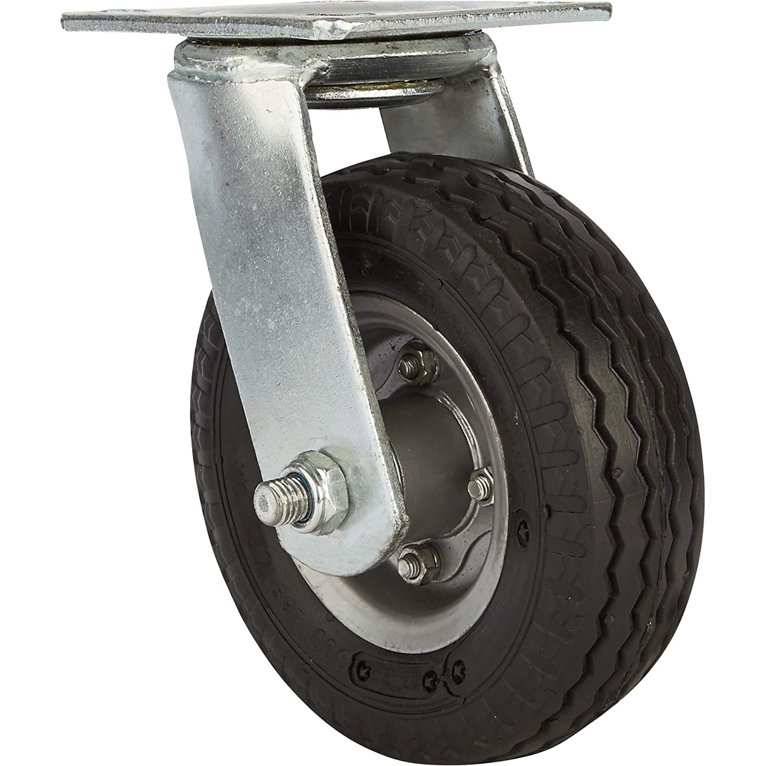 Strongway 6in. Swivel Flat-Free Rubber Foam-Filled Caster - 200-Lb. Capacity, Sawtooth Tread