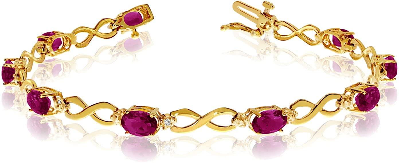BillyTheTree Jewelry 10K Yellow Gold Oval Ruby and Diamond Bracelet