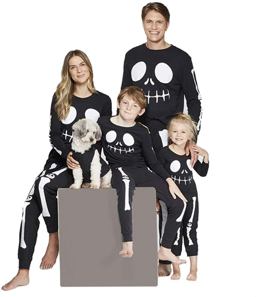 Matching Family Pajamas Sets Holiday Halloween PJS Skeleton Family Jammies Cotton Long Sleeve Tops and Pants
