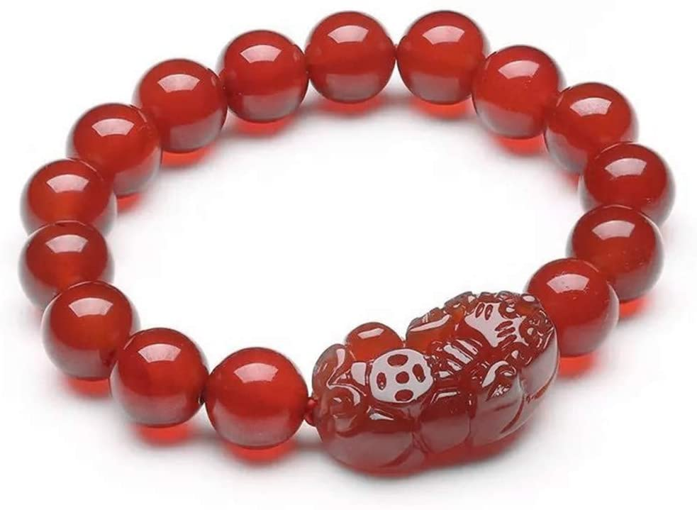 Betterdecor Feng Shui Handmade Red Agate Pi Yao Bracelet for Wealth Luck (with a Logo Pouch)