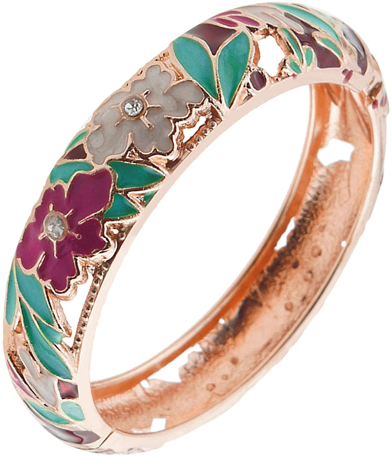 UJOY Women's Jewelry Cloisonne Leaf Flower Enameled Gold Plated Filigree Crystals Bangle Bracelets for Gifts 88A22