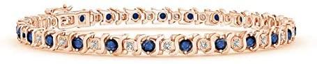 S Curl Sapphire and Diamond Tennis Bracelet (2.5mm Blue Sapphire)