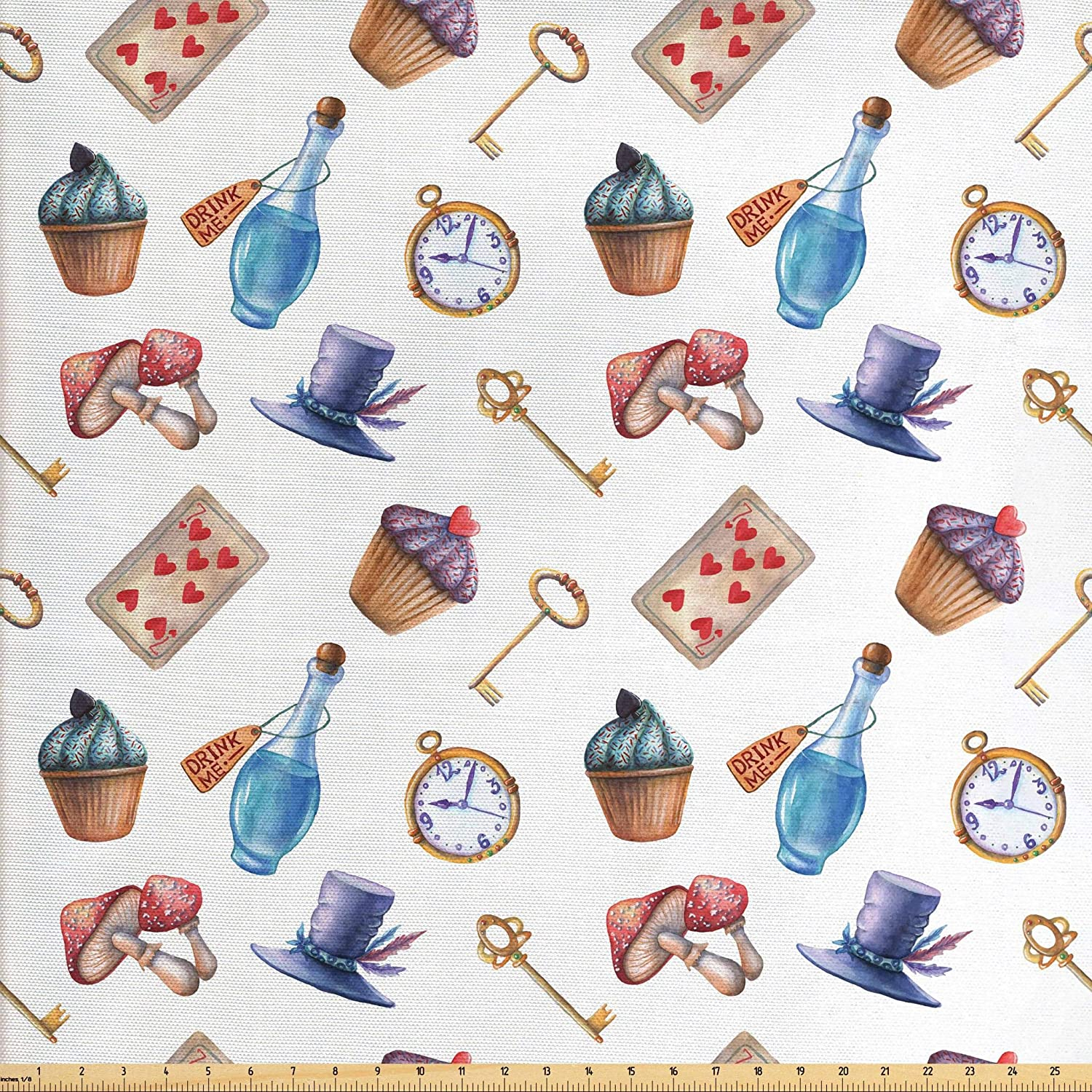 Lunarable Alice in Wonderland Fabric by The Yard, Cupcakes Mushrooms and Bottles Hanging in Sky Dessert Print, Decorative Fabric for Upholstery and Home Accents, 2 Yards, Multicolor