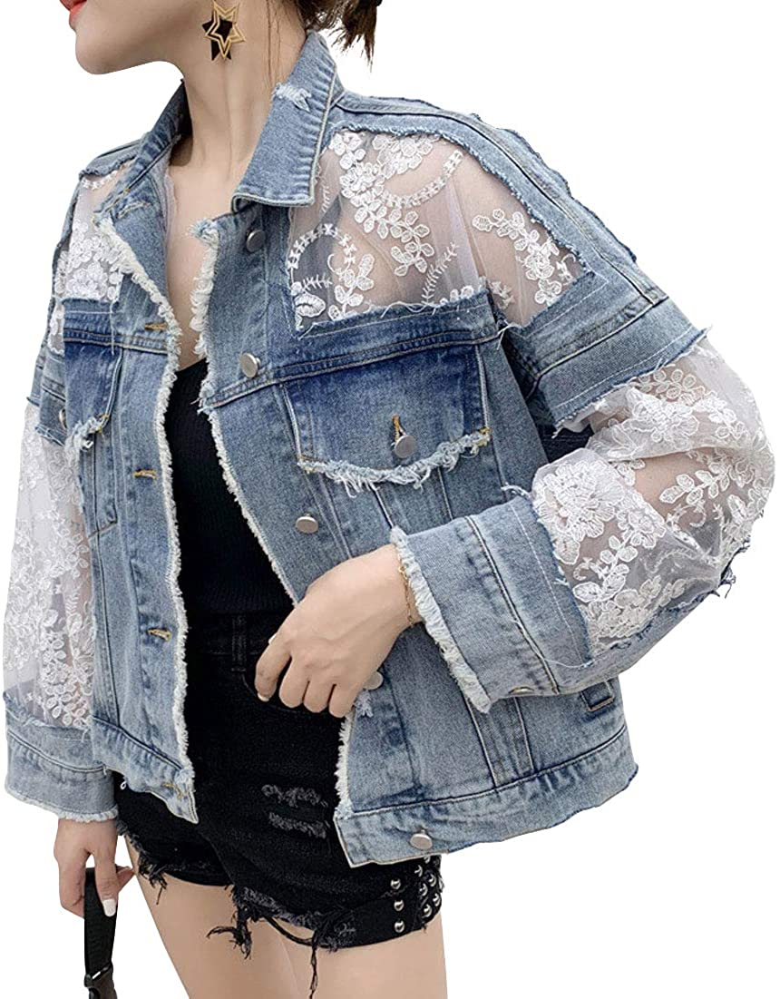 ebossy Women's See Through Floral Embroidery Lace Crop Denim Jacket Ripped Distressed Jean Jacket