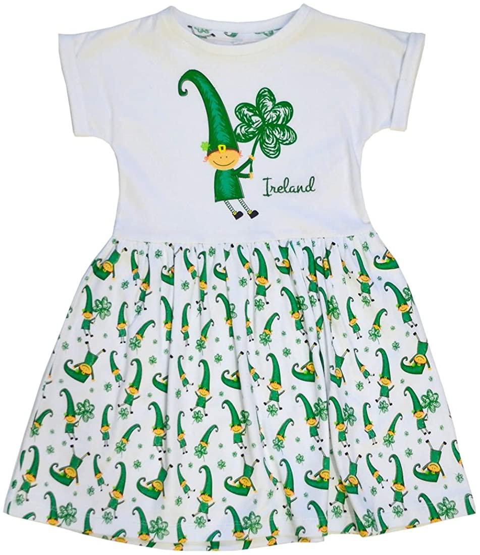 Traditional Craft White Ireland Leprechaun and Shamrock Print Kids Dress