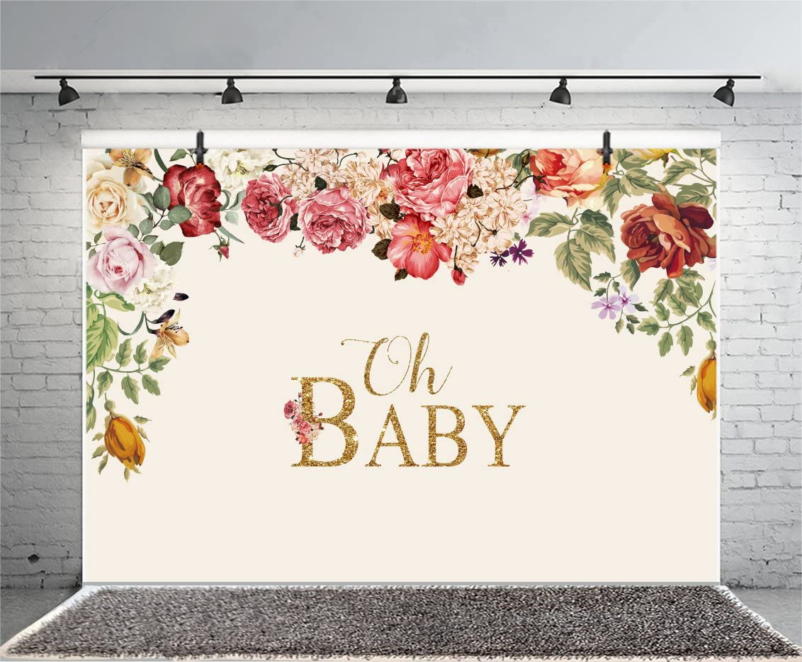 Leyiyi 5x3ft Photography Backdrop Baby Shower Background Pregnant Celebration Oh Baby Character Flowers Garland Dessert Table Decor Happy Birthday Banner Photo Portrait Vinyl Studio Video Prop