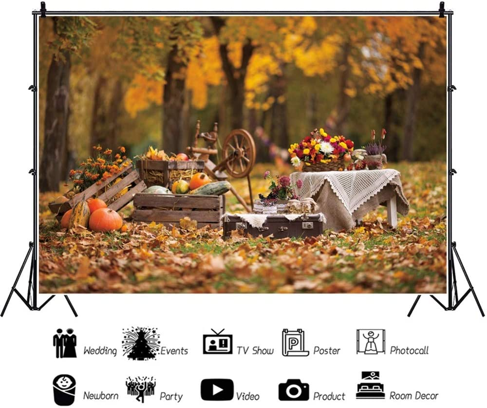Leowefowa Autumn Backdrop 10x6.5ft Vinyl Woodland Pumpkins Maple Leaves Bicycle Photography Background Autumn Party Banner Child Baby Photo Booth Studio Prop