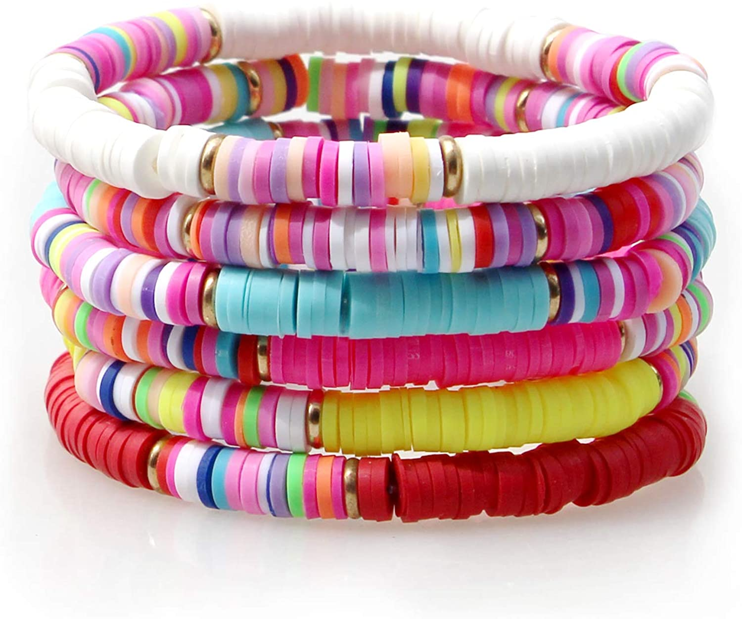 6PCS Summer Beach Boho Heishi Beads Bracelet Rainbow Surfer Bracelets Polymer Clay Heishi Stretch Bracelet for Women Girl Kids