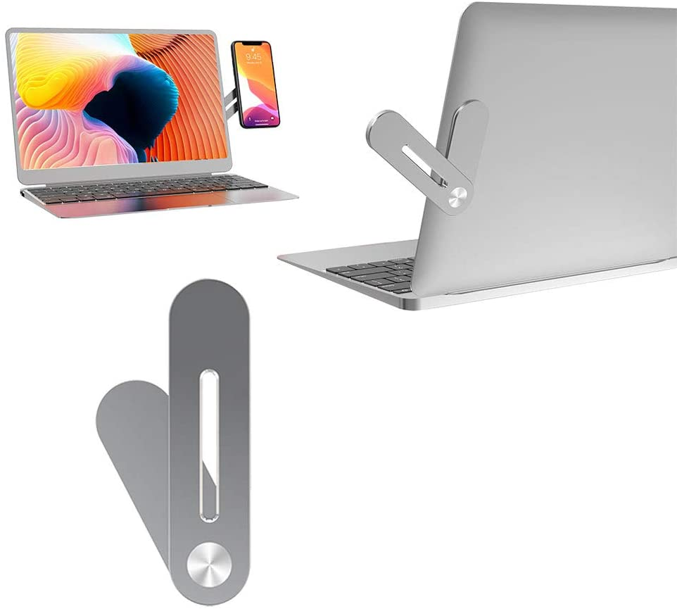 Magnetic Cellphone Mount, Side Mount Clip for Laptop, Dual Monitor Computer Expansion Bracket Cell Phone Stand, Compatible with iPhone Smartphone Fixed Flat and Slim Portable (1)