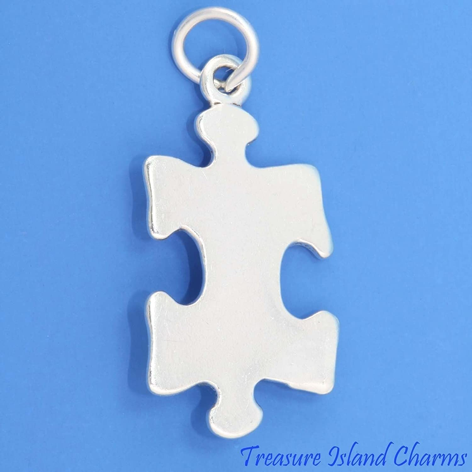 Jigsaw Puzzle Piece Autism Symbol .925 Sterling Silver Charm Pendant Made in USA Jewelry Making Supply Pendant Bracelet DIY Crafting by Wholesale Charms