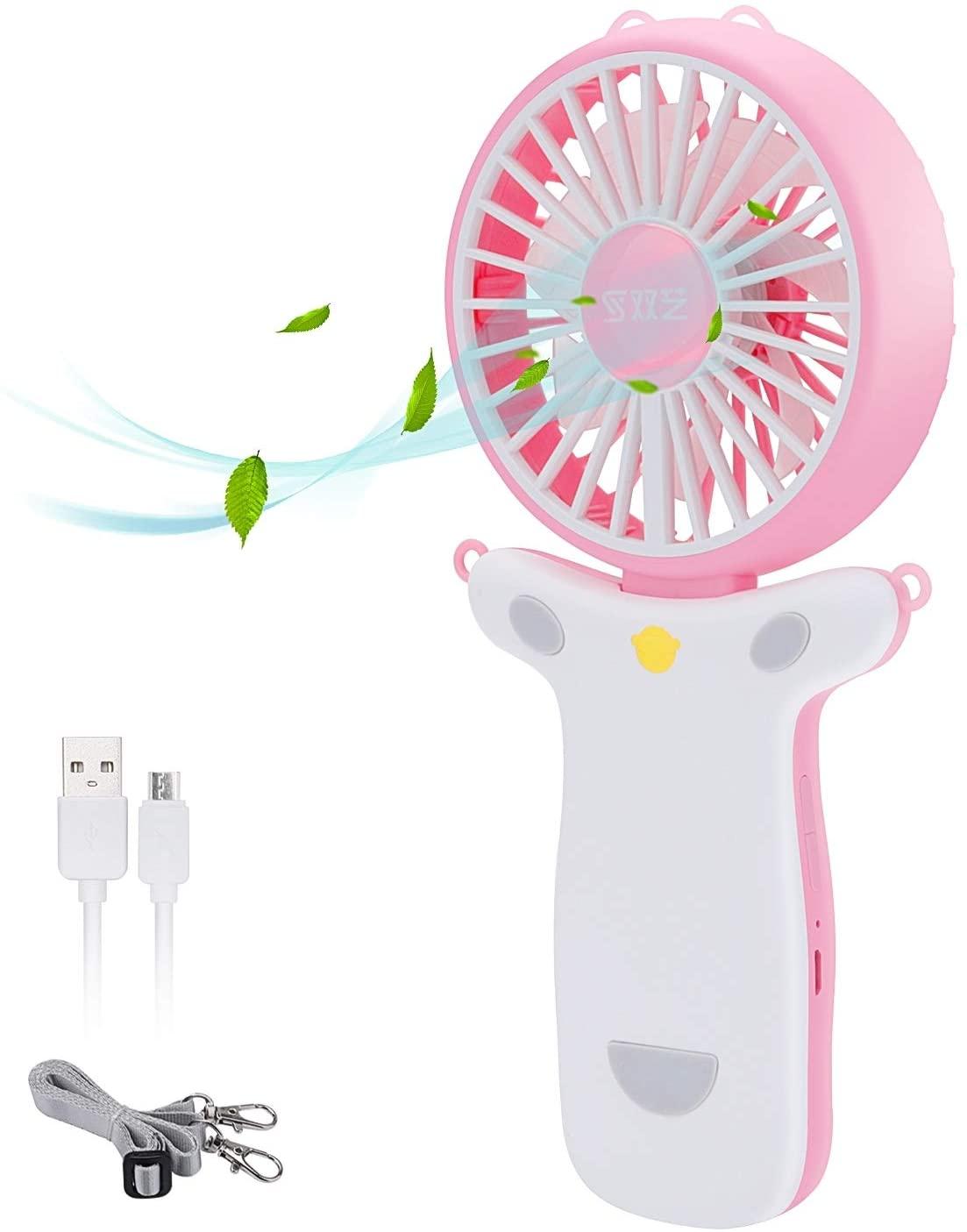 Necklace Fan Personal Fan Necklace Personal Handheld Fan Folding Fan Mini Fan Necklace Fan with Colorful Light (Pink)