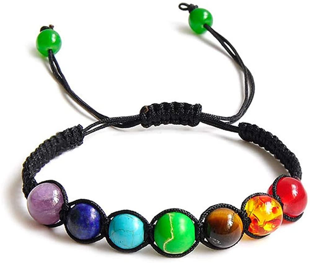 7 Chakra Yoga Natutal Stone Braeclet Adjustable Healing Balancing Bracelet