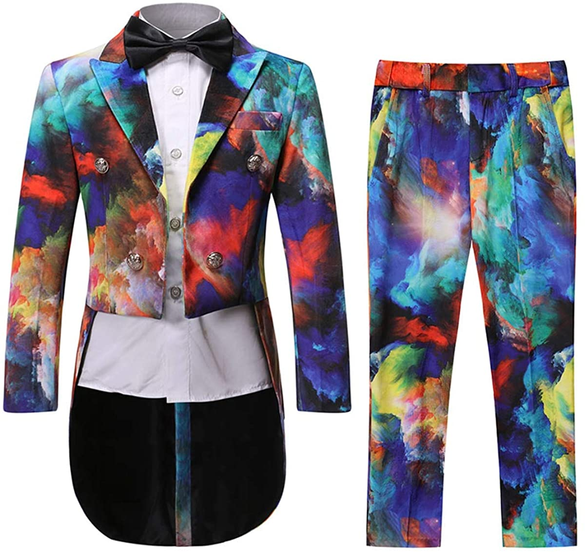 Boys Fashion Tuxedo Suit Colorful Dress 2 Pieces Blazer Pants with Tail