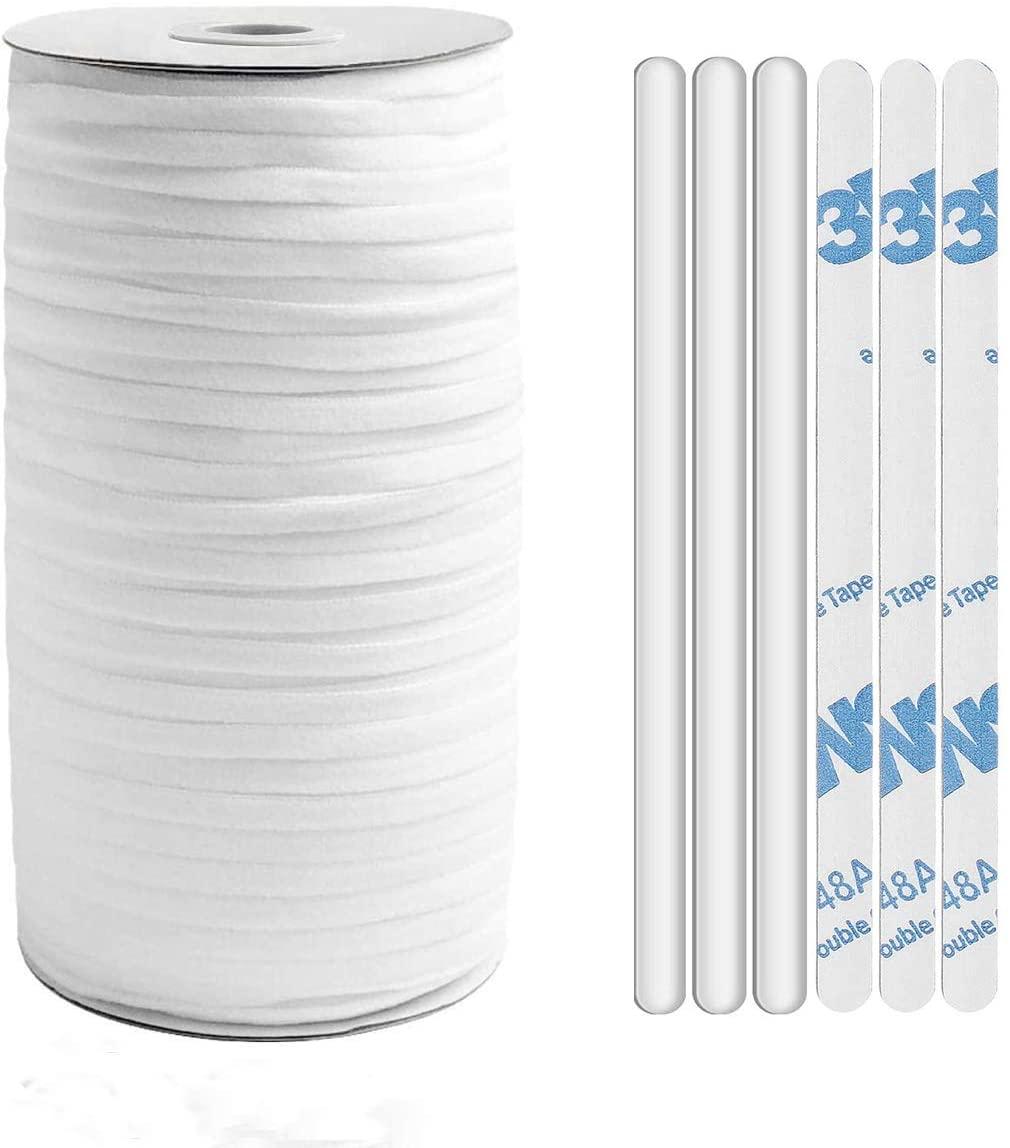 100 PCS Aluminum Nose Strip for Masks,120 Yards Elastic Bands for Sewing,Mask Nose Bridge Strip,Elastic Cord for Masks,Nose Bridge Strip for Fce Mask,Adjustable Elastic Cord,1/4inch