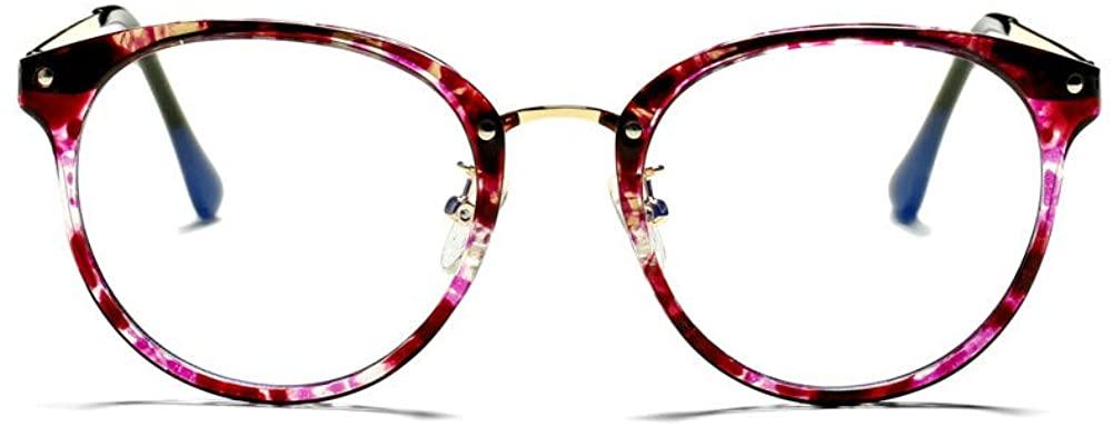 Bouryo Vintage Round Blue Light Blocking Glasses for Women TR90 Computer Eyeglasses