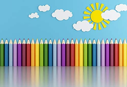 Baocicco 7x5ft Vinyl Backdrop Children's Room Interior Decor Photography Background Crayon Sun Clouds Blue Background Kindergarten Activity Children's Room Wallpaper Decor Children Portrait