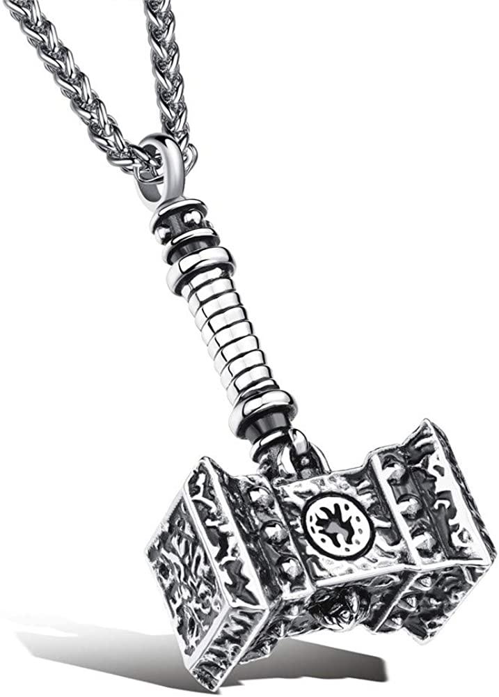 SIMECO JEWELRY Men Thor Hammer Pendant Necklace Marvel's Thor Loki Doomhammer Game DIY with 23.6 inch