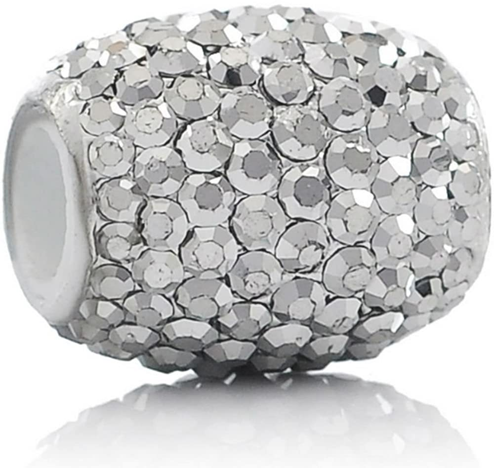 Sexy Sparkles White Oval Rhinestones Charm Bead Compatible for Most European Snake Chain Bracelets