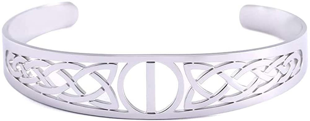 VASSAGO 24 Runes Irish Trinity Celtic Knot Symbol Stainless Steel Cuff Bangle Hollow Out Design Viking Amulet Bracelet for Men Women Teens