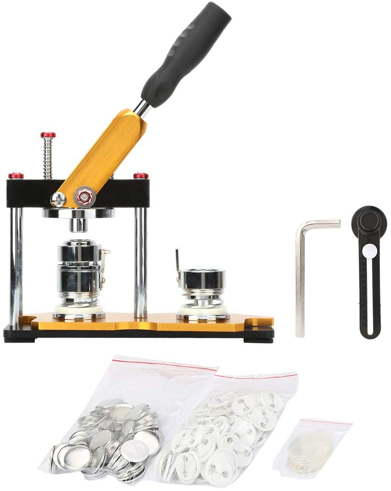 Rotate Button Machine, Aluminum Alloy 25mm/32mm/58mm Rotate Button Maker Manual Punch Press Machine for DIY with 100Sets Circle Button Parts (58mm/2.28inch)