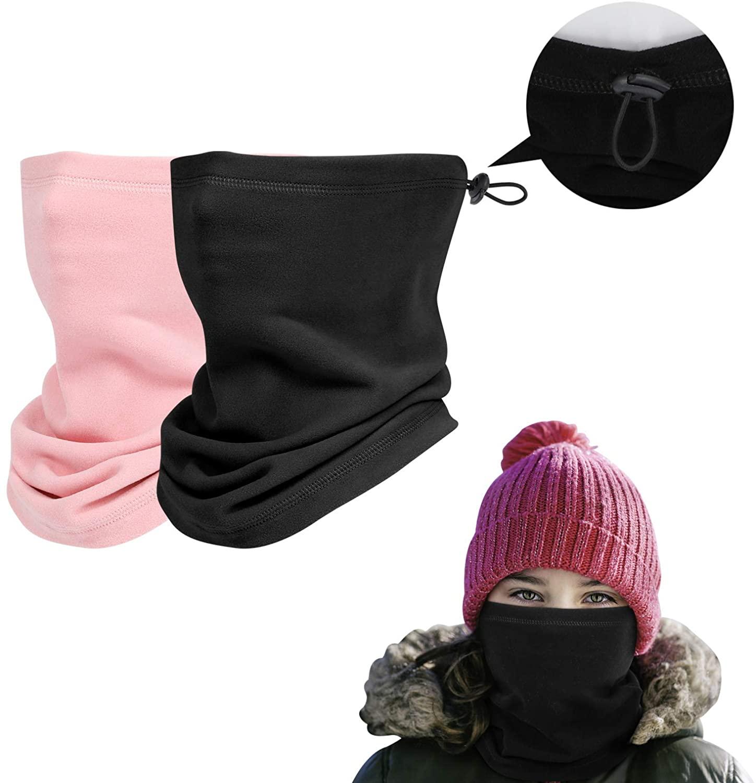 2 Pack Kids Winter Neck Gaiter Fleece Balaclava Face Cover Elastic Ski Scarf for Boys Girls - Autumn Snoods Neck Warmer