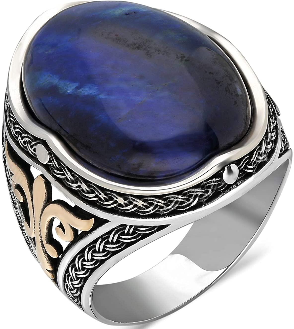 mysilverworld Solid 925 Sterling Silver Oval Blue Tiger's Eye Stone Men's Ring