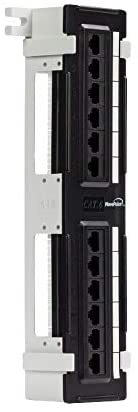 NavePoint 12-Port Cat6 UTP Unsheilded Mini Patch Panel with Wallmount Bracket Included Black