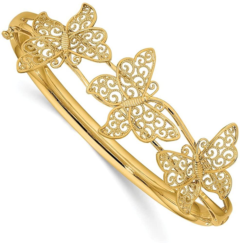 Black Bow Jewelry 14k Yellow Gold Filigree Butterfly Hinged Bangle Bracelet