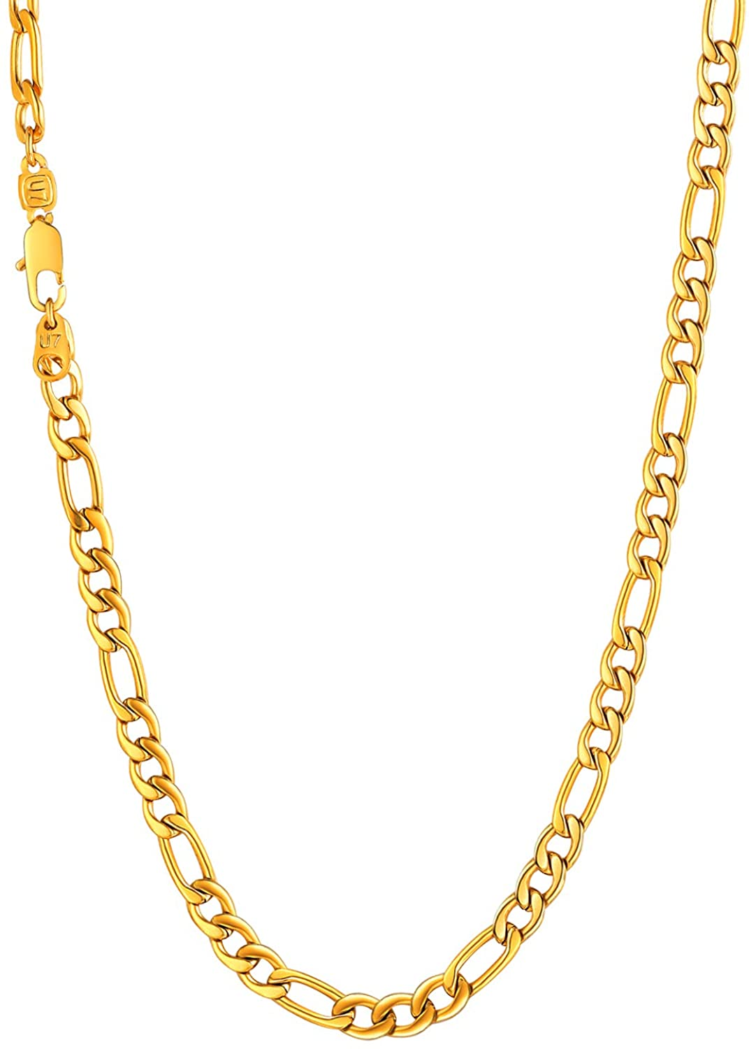 U7 Stainless Steel Figaro Chain|Width 3mm-12mm|Length 16 Inch to 32 Inch|Italian Style Flat Link Necklace for Men and Women, Gift Box Packed