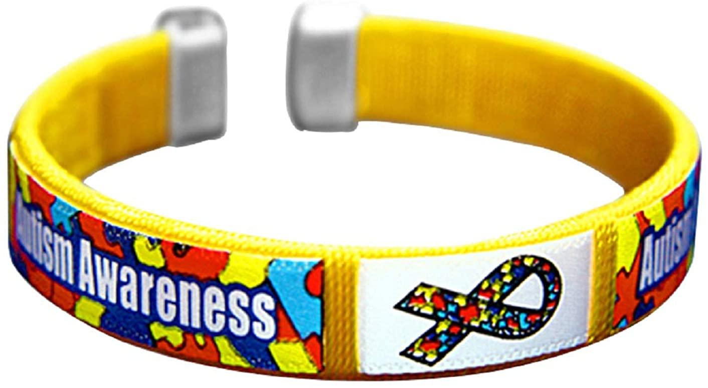 Child Sized Autism Awareness Bangle Bracelets - Autism Ribbon Wristbands for Kids & Children - Inexpensive Autism Bracelets
