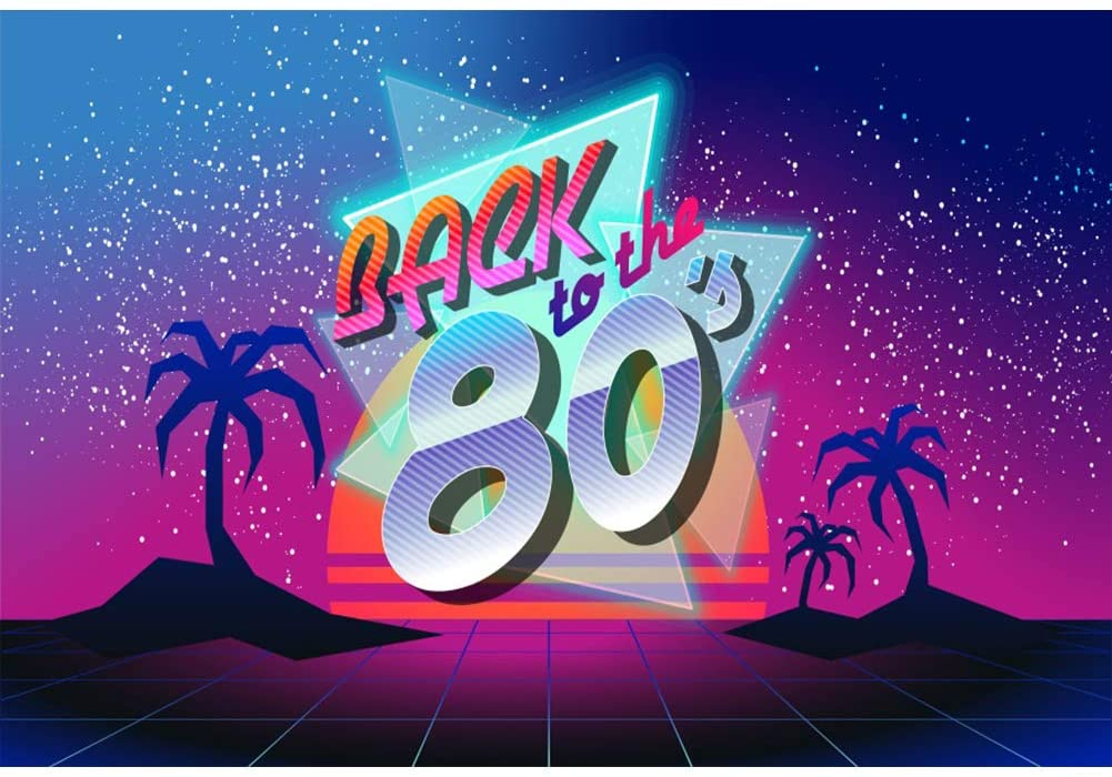 Leowefowa 7x5ft Vinyl Photography Backdrop Back to The 80's Beach Party Starry Sky Background for Photography Portrait Photo Props Party Decor Video Studio Photo Booth Backdrop