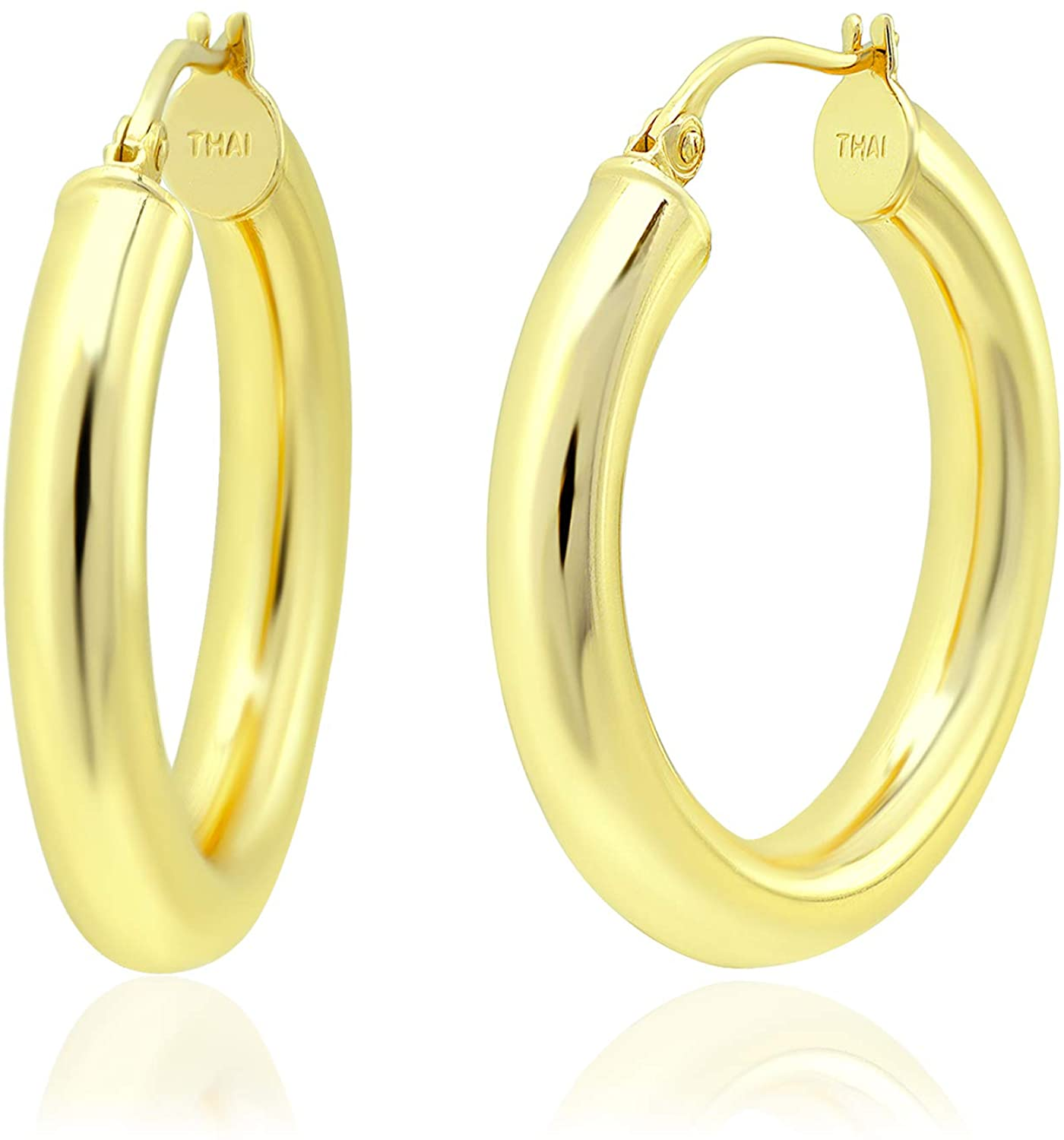 Michael Zweig Gold Flash Plated Sterling Silver Hoops Earrings with Click-Top Round Tube Size 4.0 mm Thick