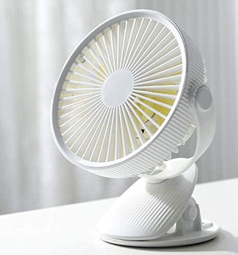 ROSEBEAR USB Desk Fan 360 Degree Rotation Clip-on Cooling Fan with 3 Wind Speed Battery Operated Portable Mini Personal Fan White