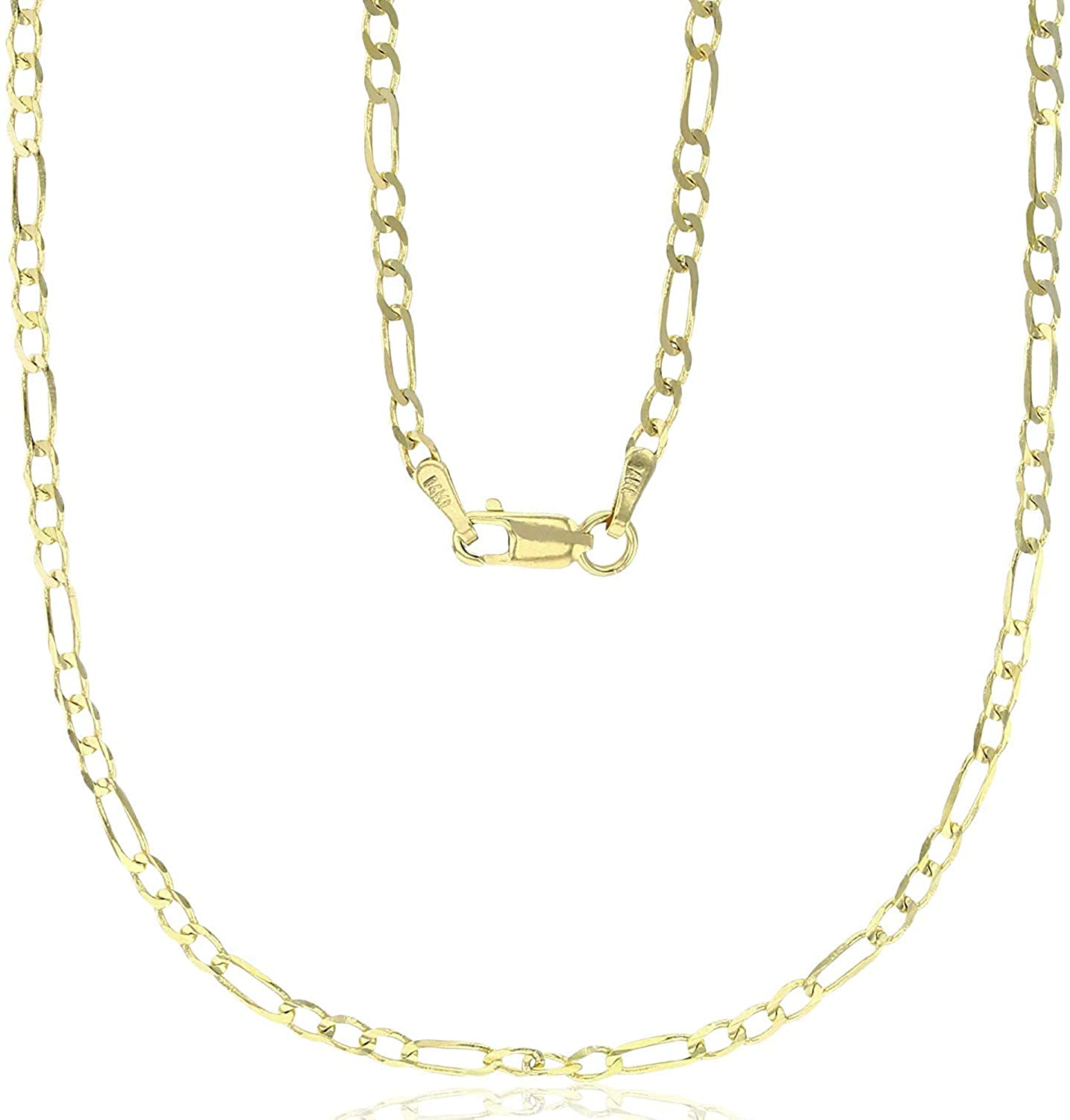 14K Yellow Gold Solid 2mm-12mm Figaro Chain with Lobster Claw Clasp | Italian Gold Chain | Gold Figaro Chain for Men and Women
