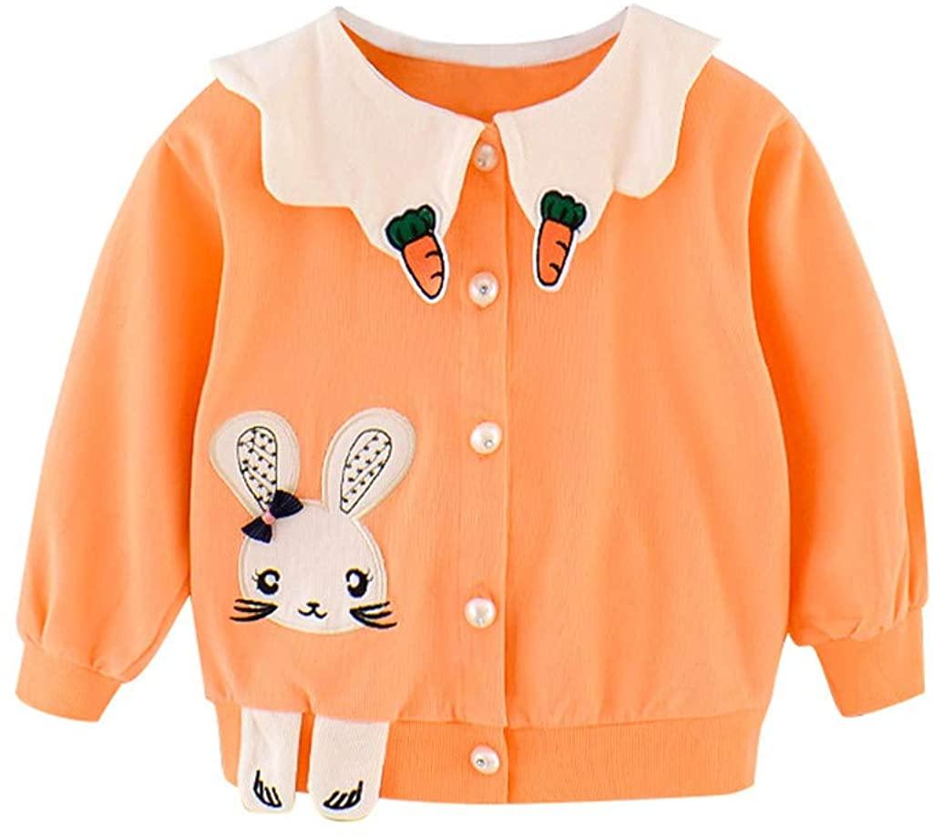 Toddler Kids Cartoon Coat Tops Clothes Rabbit Carrot Doll Collar Loose Version Baby Girl Coat Autumn Cardigan Outwear