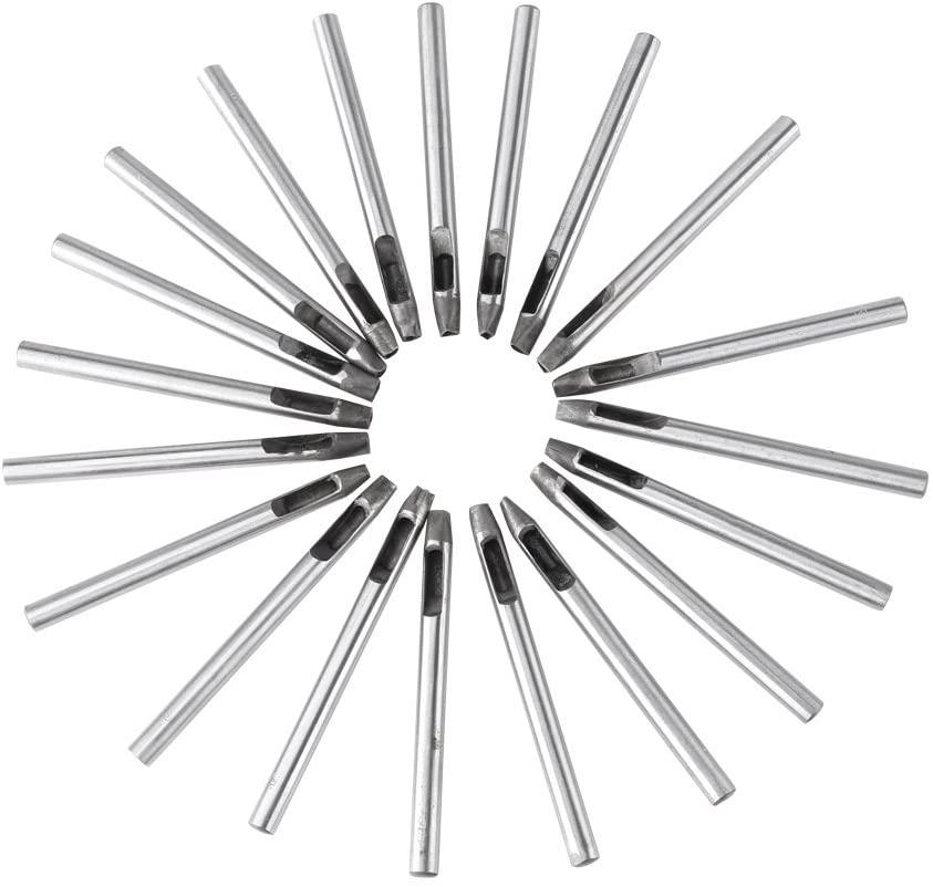 Hollow Punch Set, 20pcs 5mm Carbon Steel Flower Punch Hole Tool Leather Craft Belt Puncher DIY for Wallet Belt Decoration
