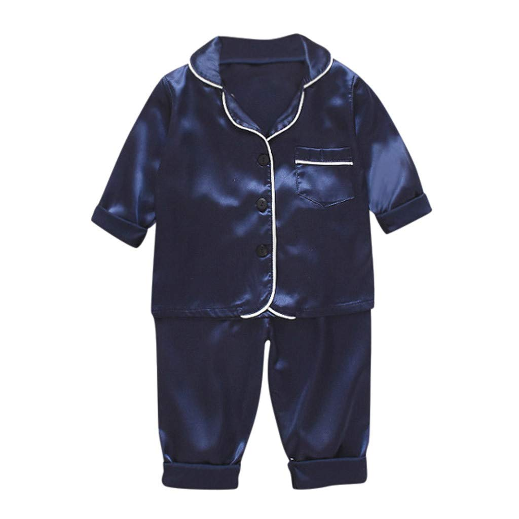 Boy Tops+Pants Set Toddler Baby Boys Long Sleeve Solid Tops+Pants Pajamas Sleepwear Outfits Boy Outfits Set