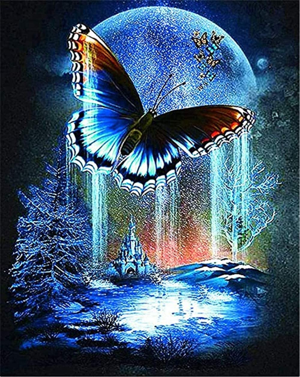 RAILONCH 5D DIY Butterfly Full Drill Rhinestone Diamond Painting Kits for Home Décor (60x75cm)