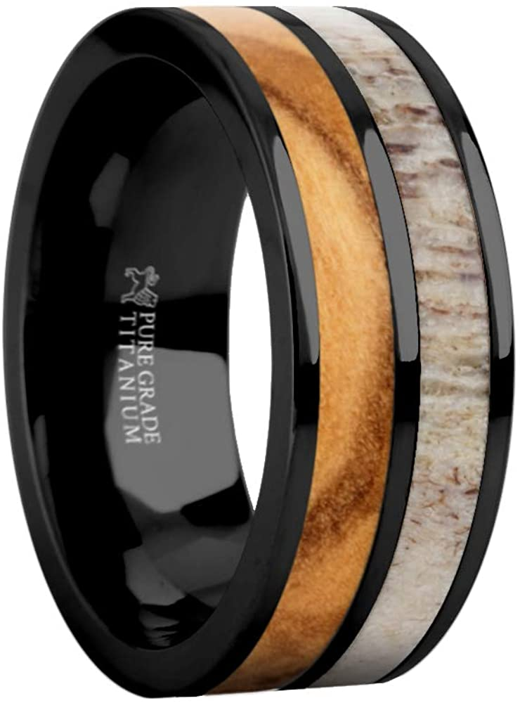 Hanover Jewelers Genuine Olive Wood Twin Inlay Titanium Wedding Ring for Men