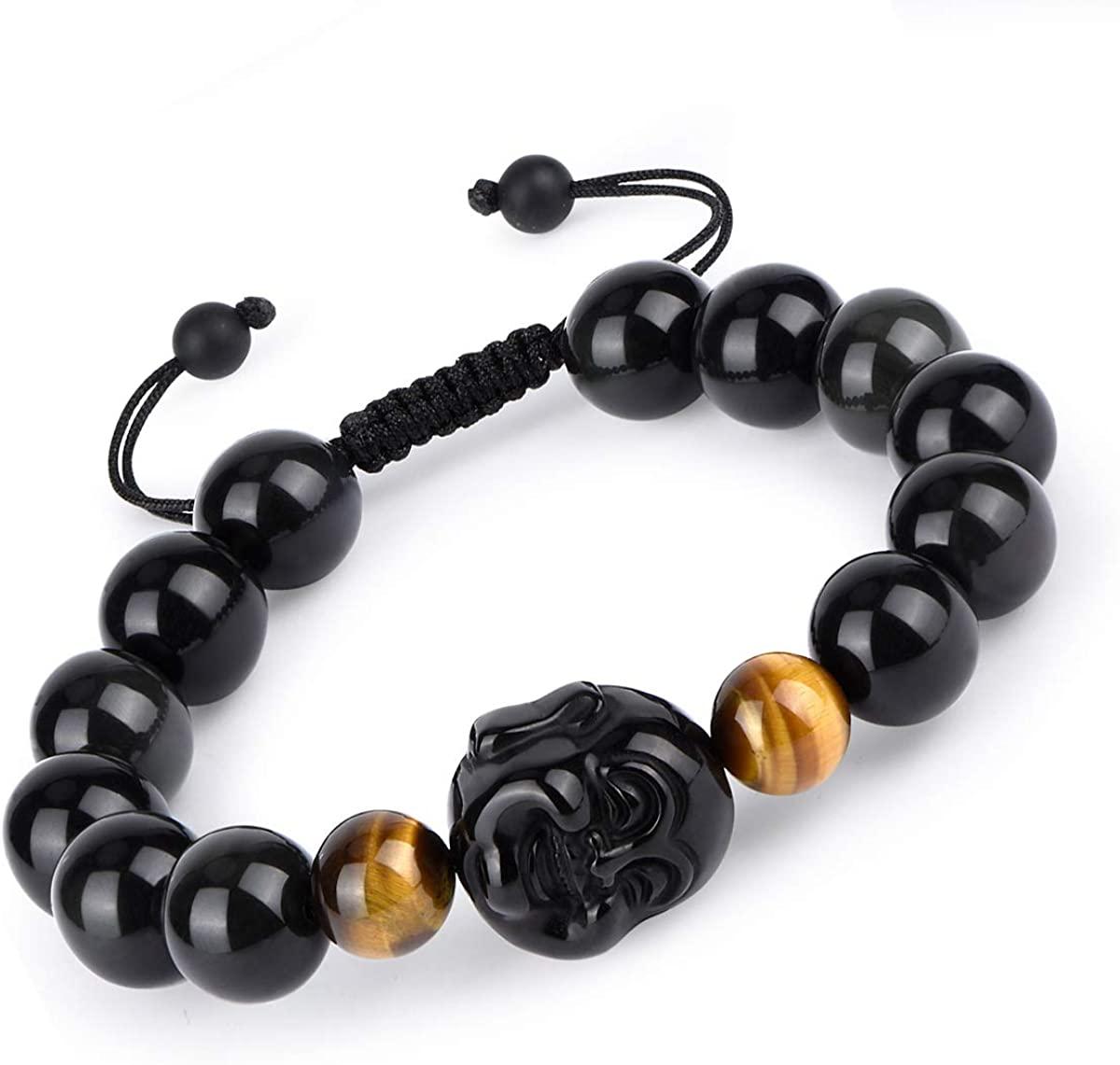 HASKARE Black Obsidian Wealth Bracelet - 10mm Natural Stone Beads Obsidian and Tiger Eye Buddha Chakra Yoga Bracelet 7