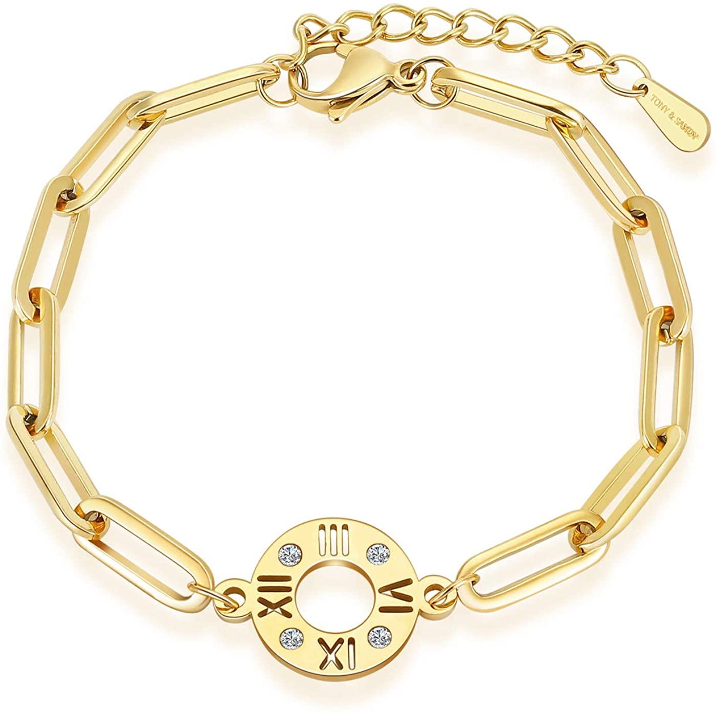 TONY & SANDY Tiny Link Chain Bracelet with 18K Gold Plated Dainty Handmade Paper Clip Bracelet Bangle U Chain Charm Layered Adjustable Bracelet Jewelry Present for Women Girls Kids