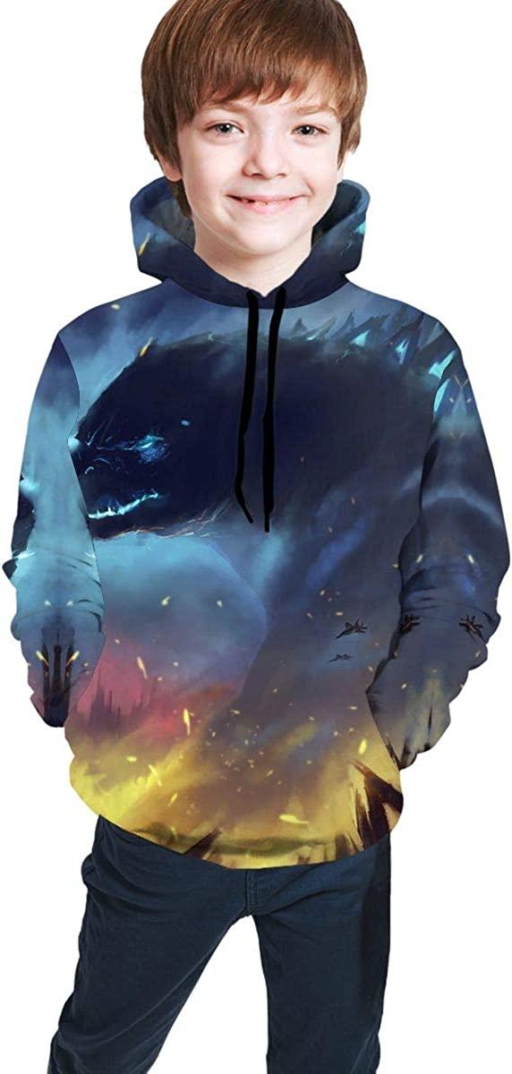 Godzilla Boys and Girls Pullover Sweatshirt, Youth Hooded Sweatshirt