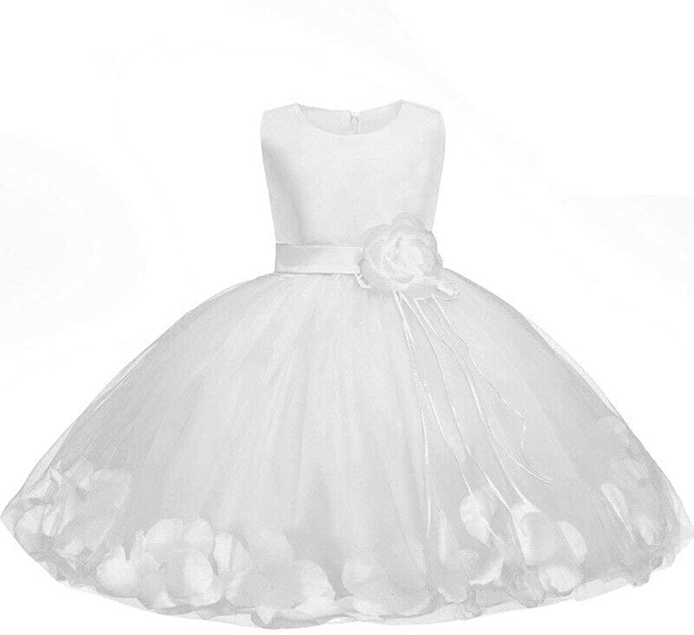 Taiyangcheng Girl Tutu Petals Flower Girl Dress Bow Knot Bridesmaid Wedding Formal Party Princess Special Occasion Dress