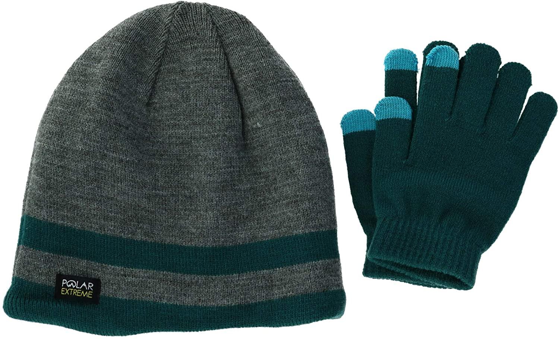 Polar Extreme Kids' Striped Beanie with Texting Glove Set