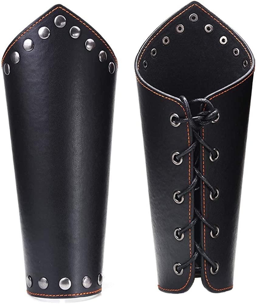 AZORA Leather Gauntlet Wristband Medieval Bracers Wrist Band Buckle Wide Bracer Arm Armor Cuff 2 Pcs