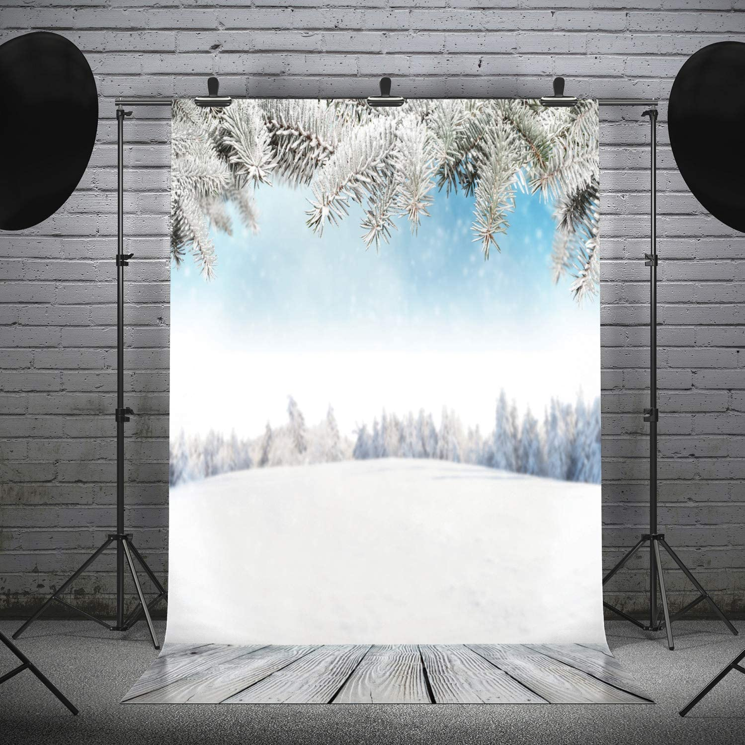 Lunarable Winter Photography Backdrop, Snowy Pine Tree Branches and Landscape Scene New Year Blurry Woods, Photo Studio Background Prop Wall and Party Decor, 6' x 11.5', White Baby Blue and Dimgray